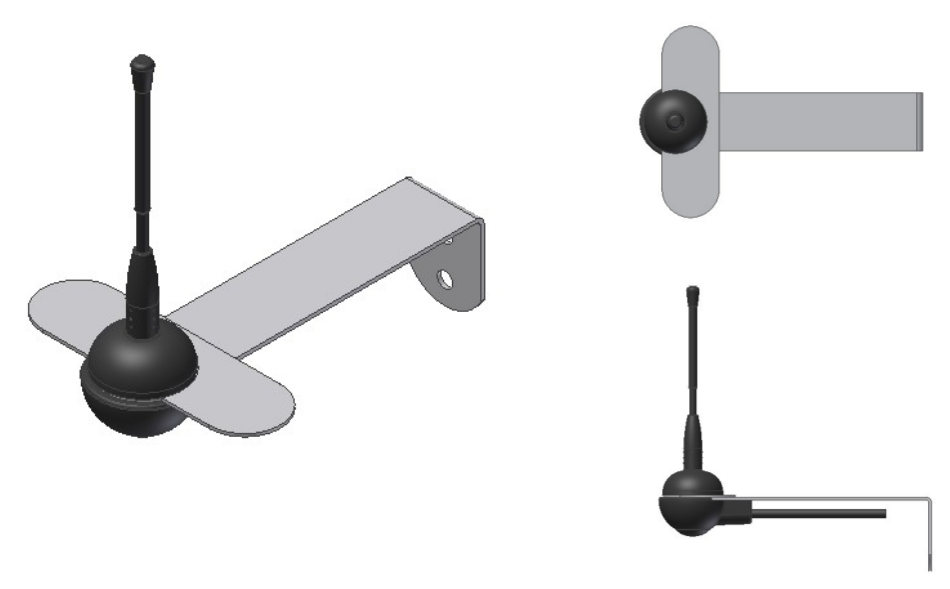 868 MHz antenna with stainless steel wall mount bracket