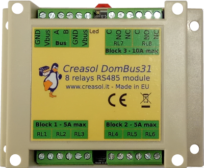 Creasol DomBus31 8 relays module for domoticz home automation system